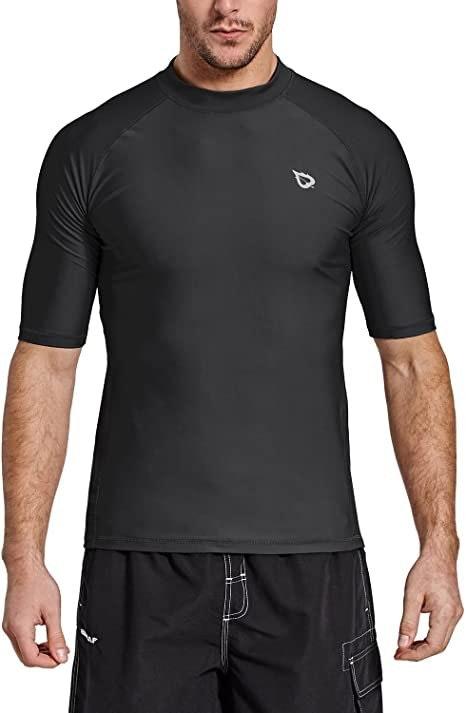 Baleaf Men's Short Sleeve Rashguard Swim Shirt Upf 50+ Sun Protection Rash Guard