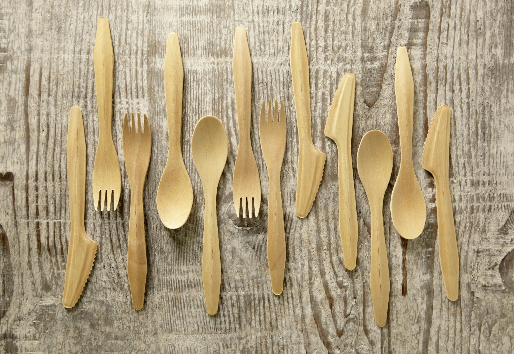 Bamboozlers Disposable Wooden Cutlery Set