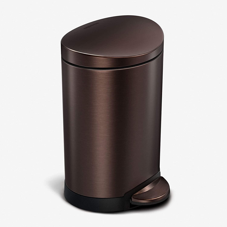 Simplehuman 6-Liter Semi-Round Step Trash Can