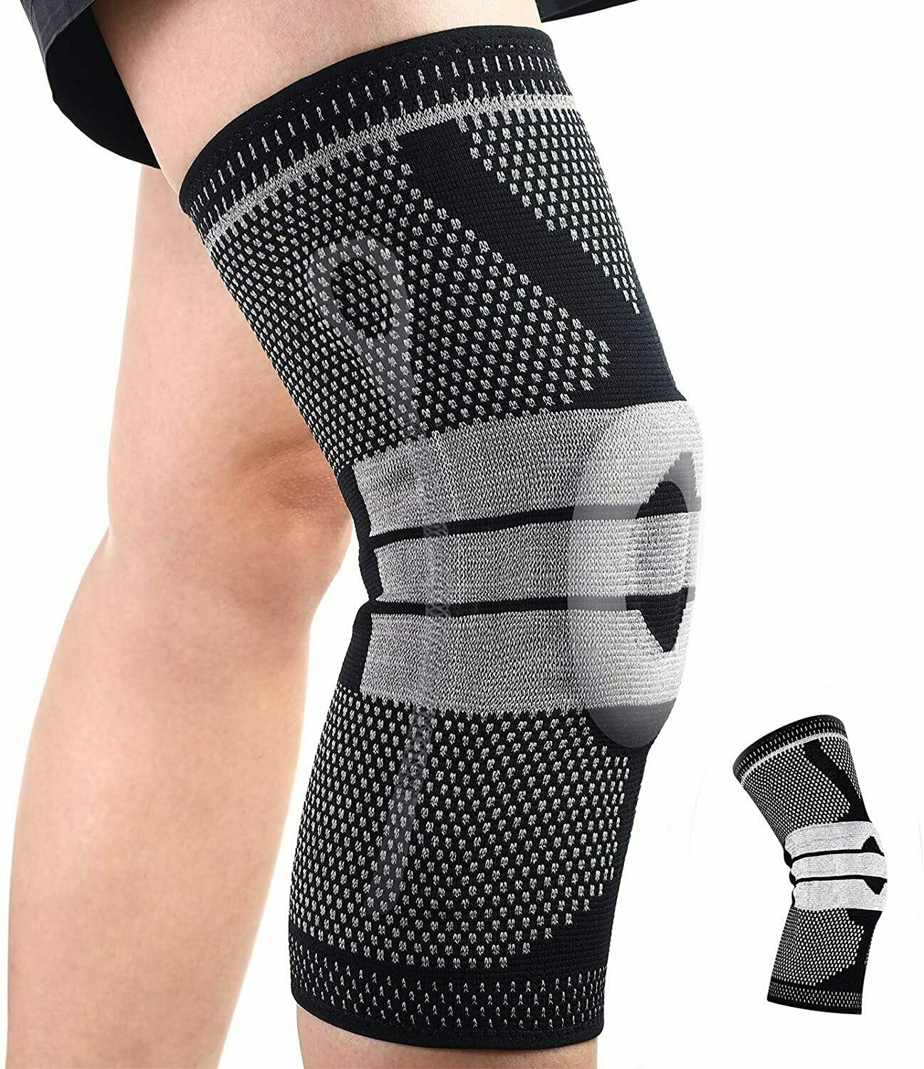 Knee Compression Sleeve, Non Slip Reflective Knee Brace