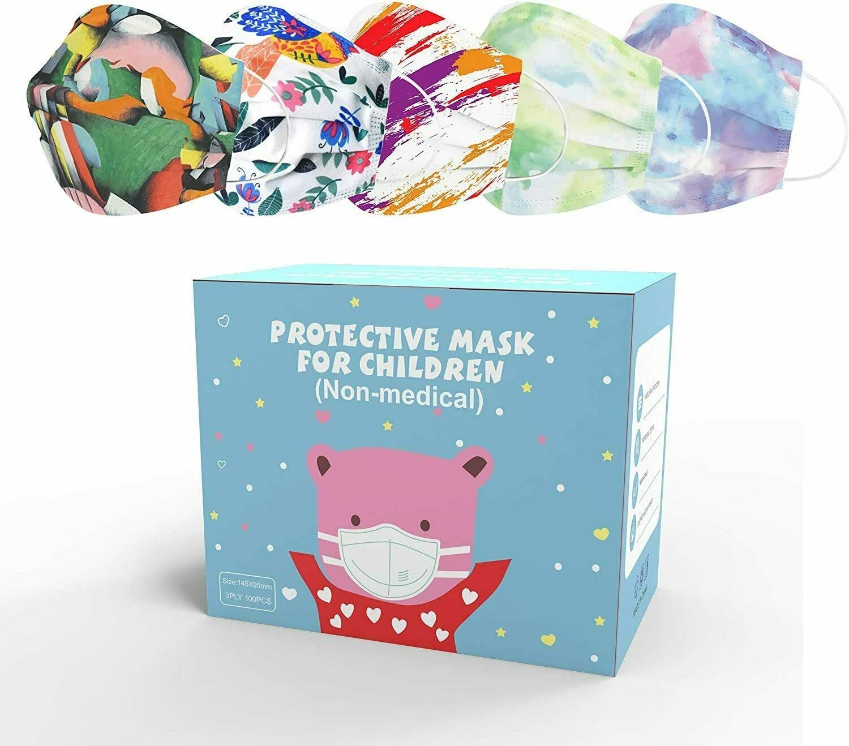 Sheal Colour Kids Disposable Face Masks (100 Pack) for Children