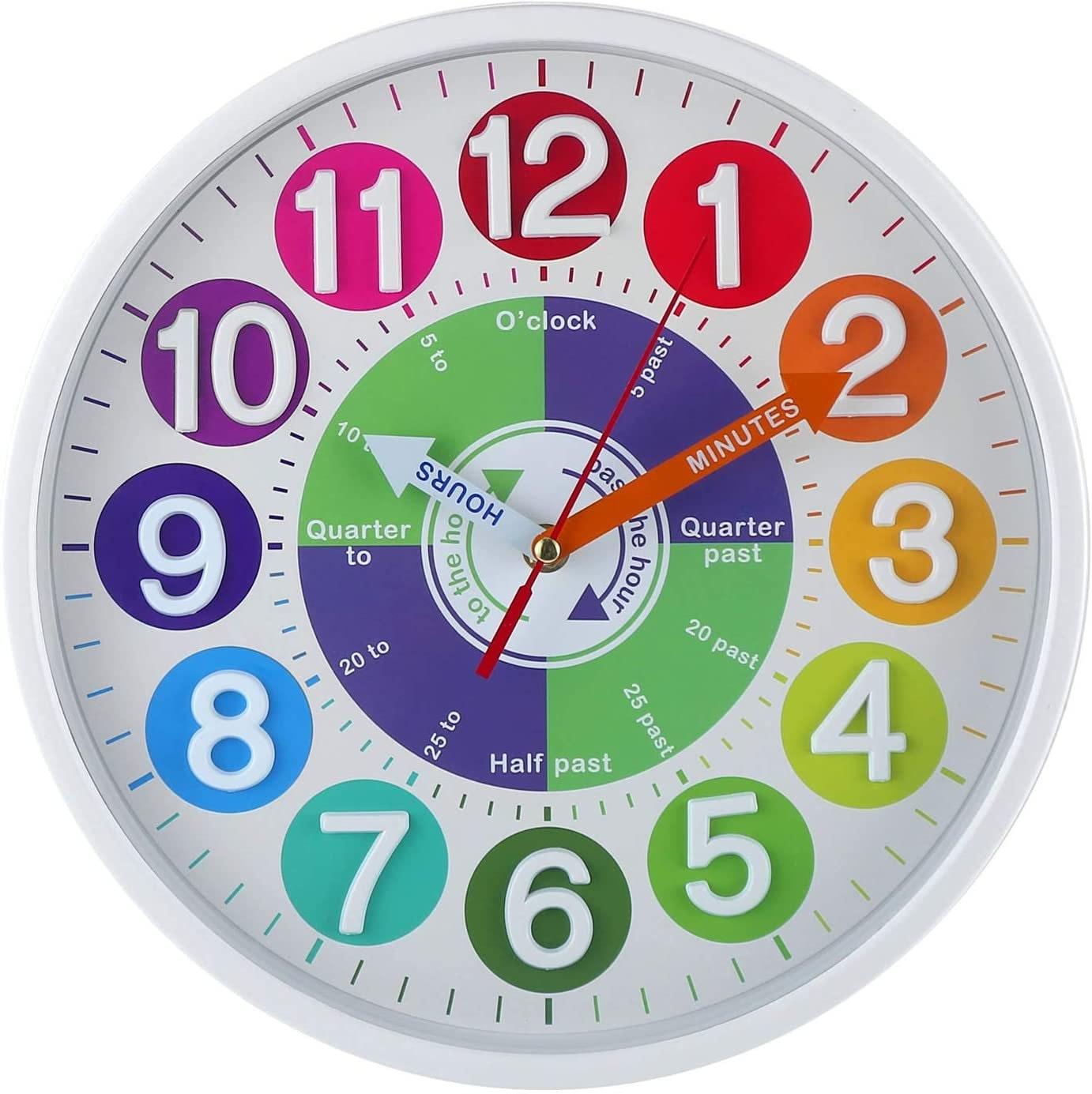 CIGERA 12 Inch Educational Wall Clock for Kids