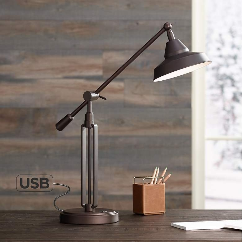 Franklin Iron Works Bronze LED Desk Lamp