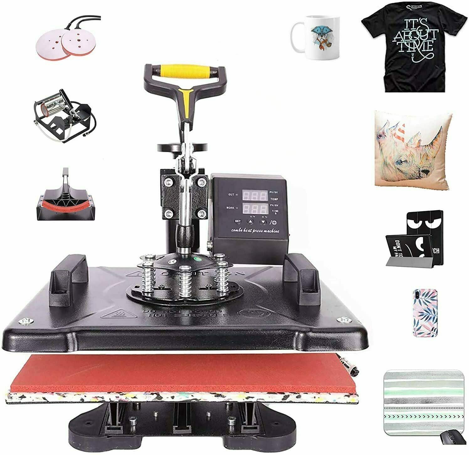 """12""""X15"""" Heat Press 360 Degree Swivel Heat Press Machine 5 in 1"""