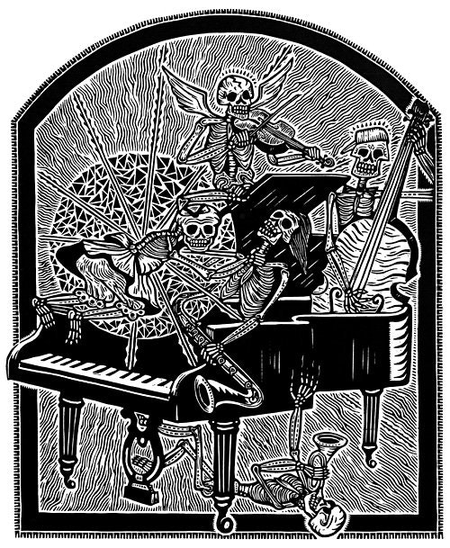 Thomas Rude -The Young Composers- Linocut Print