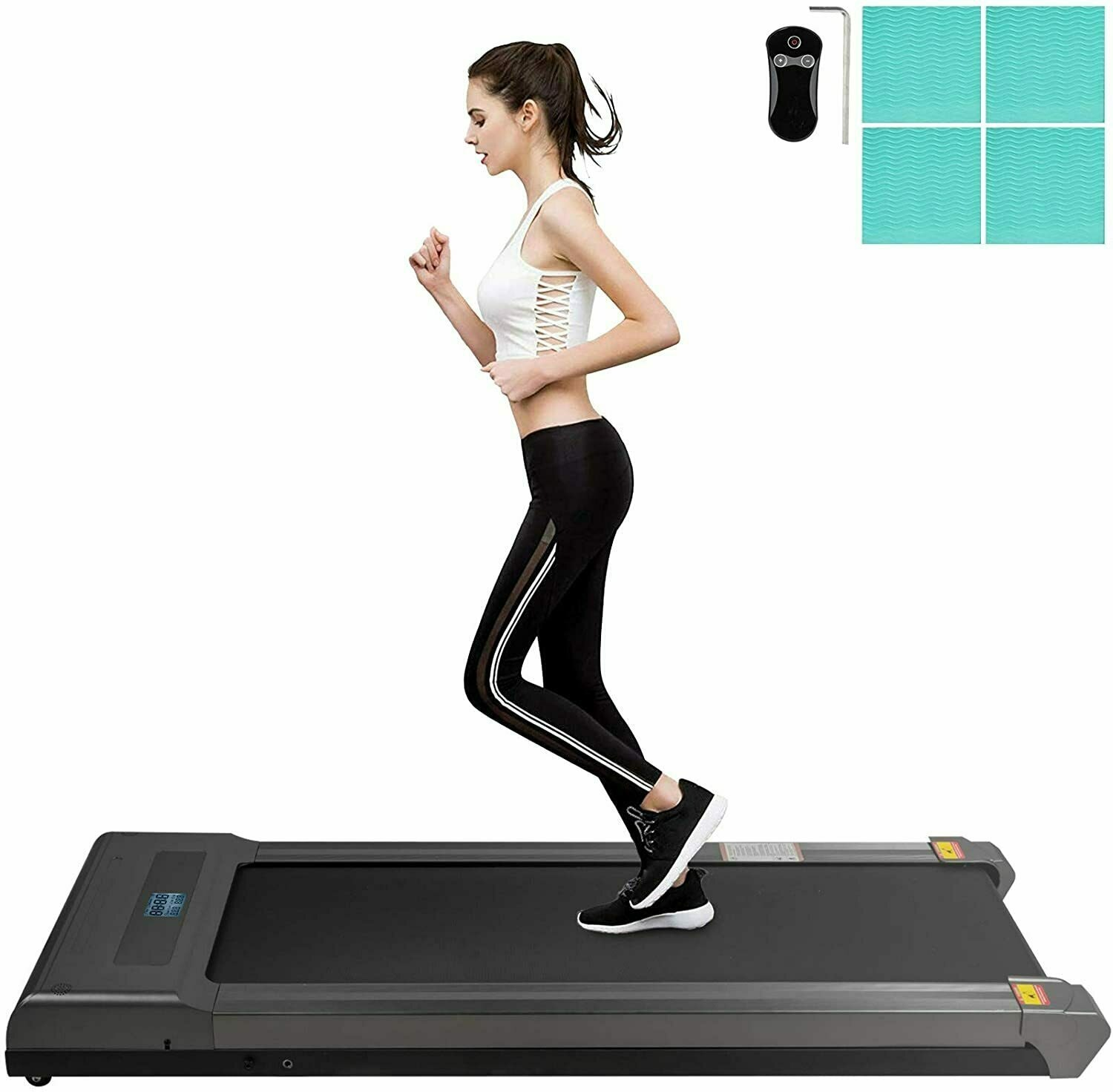 Happybuy Treadmill, Silver Under Desk Treadmills