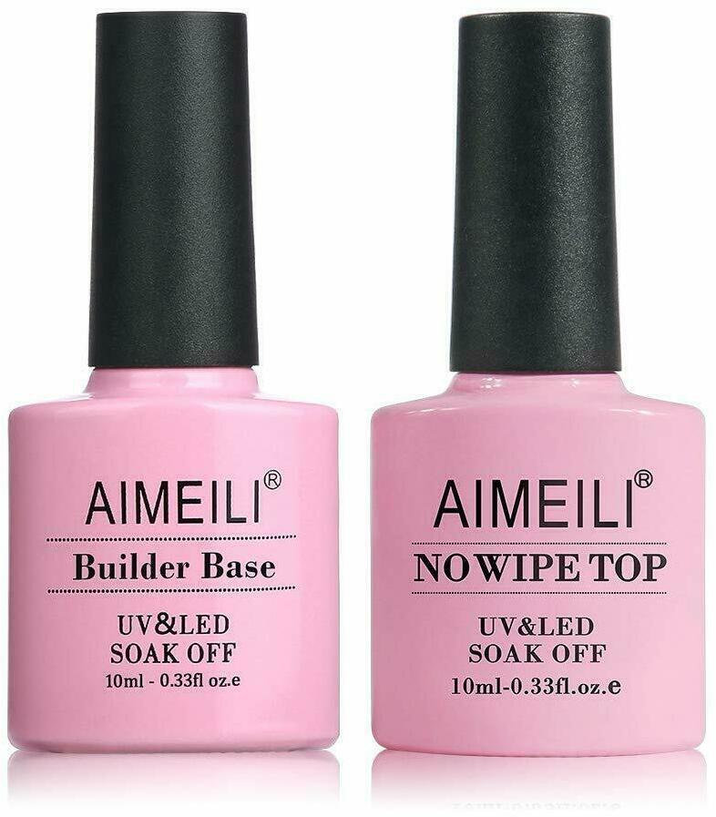 AIMEILI Gel Nail Polish Builder Base and No Wipe Top Set