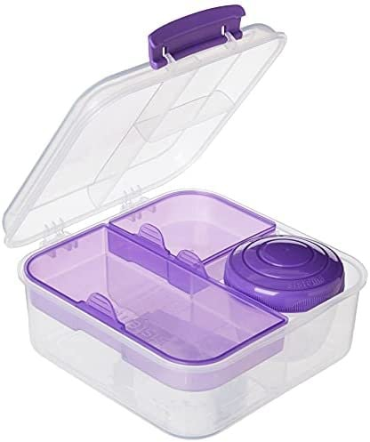 Sistema to Go Collection Bento Box Cube Plastic Lunch and Food Storage Container, 5.3 Cup, Multi-Compartment
