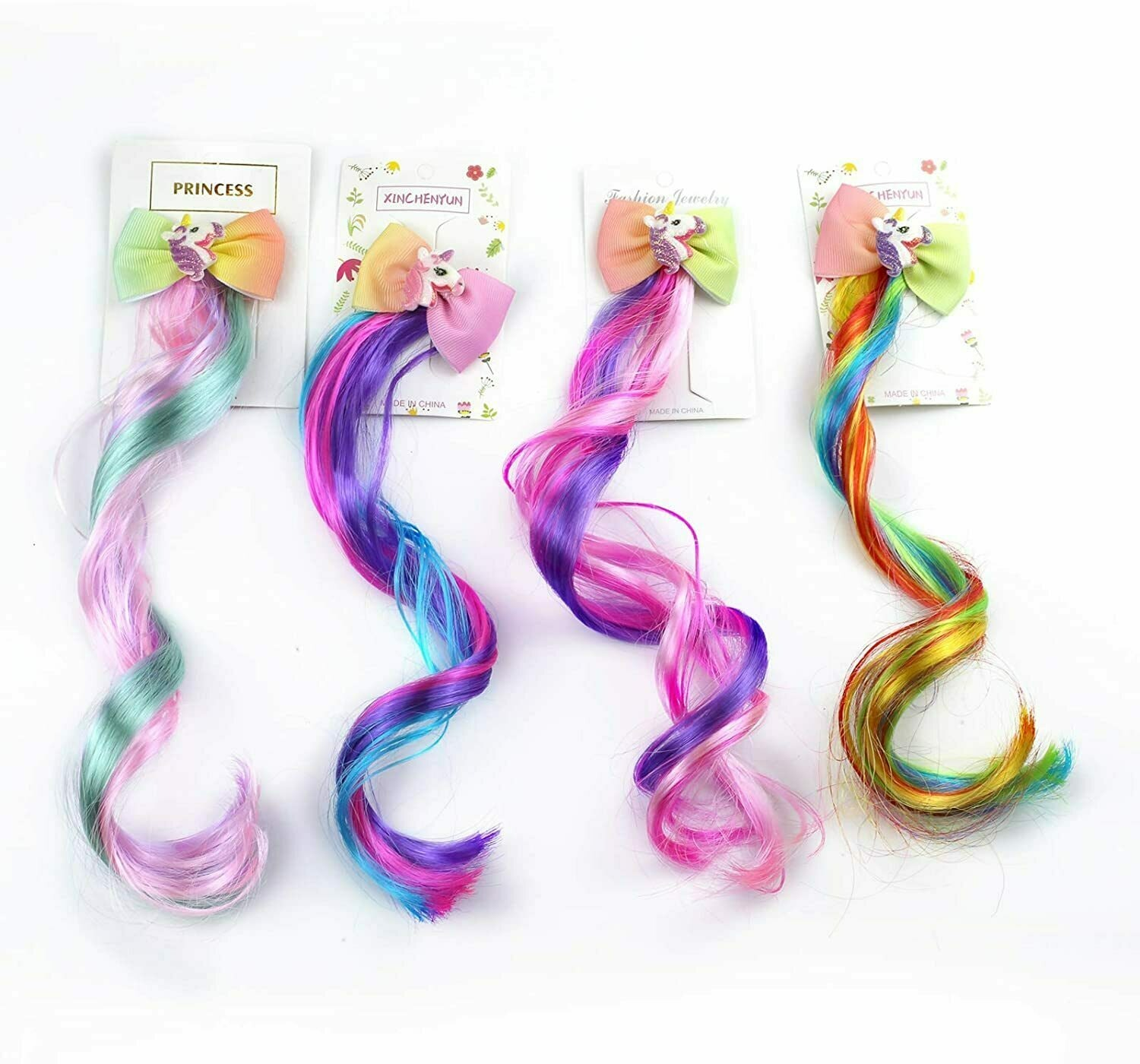 Sunormi 4 Pcs Multi-Colors Kids Girls Hair Clips in 15 Inch Hair Extensions
