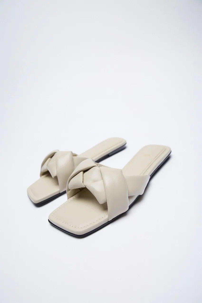 Zara Woven Flat Leather Sandals